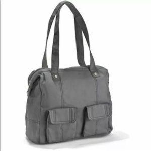 Thirty One Grey Cotton Shoulder Satchel Handbag